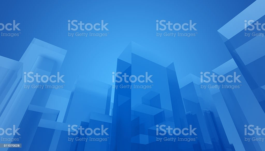 Abstract architecture background with transparent blue buildings stock photo