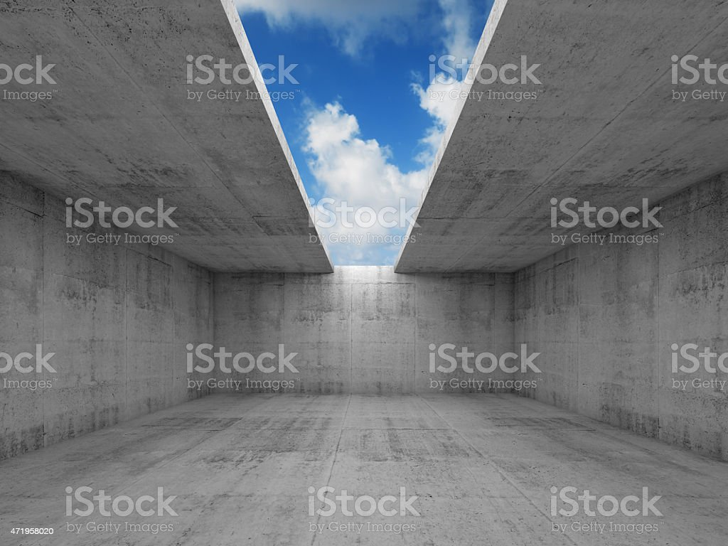 Abstract architecture, empty concrete room with opening stock photo