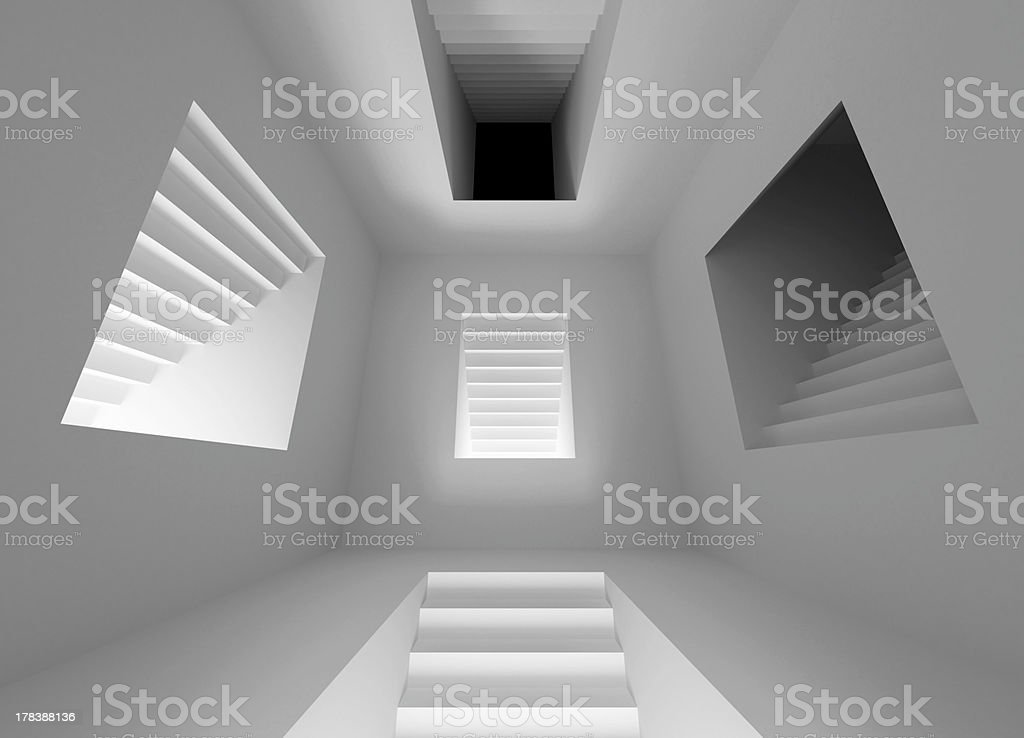 abstract architecture interior with lighting stairway portals royalty-free stock photo