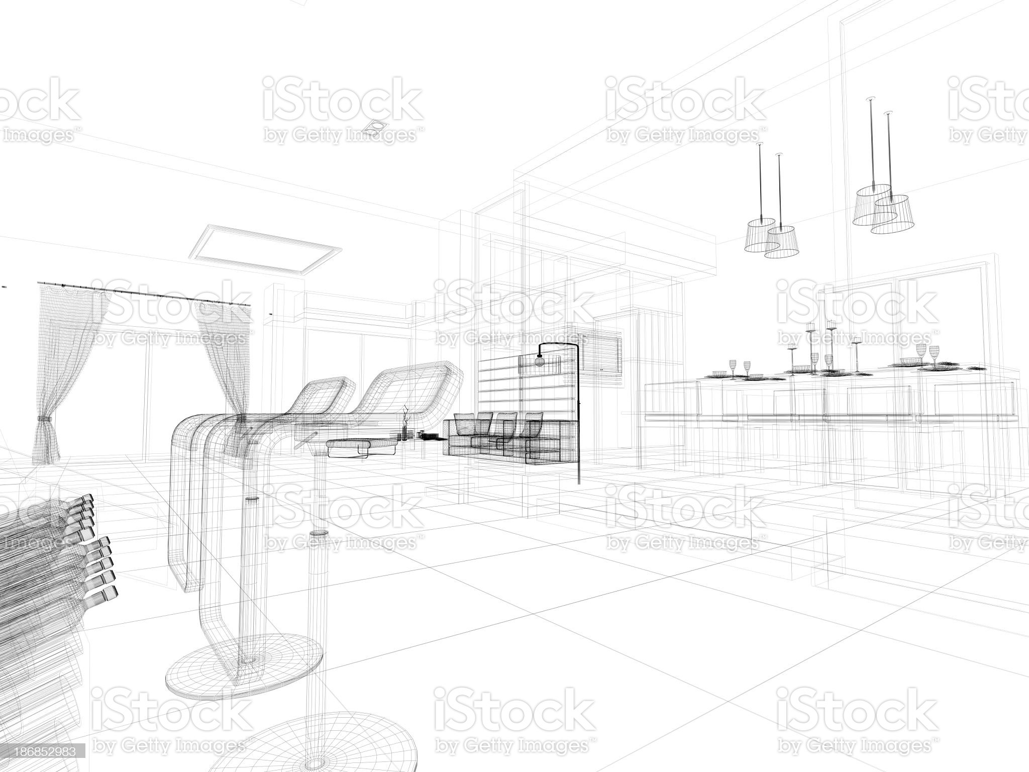 abstract architecture  Kitchen 5 royalty-free stock photo