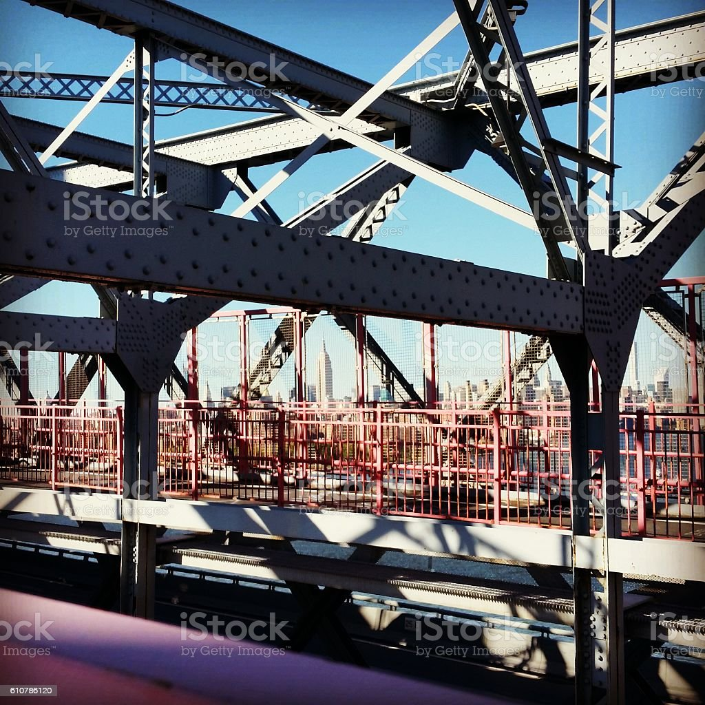 Abstract Architecture on NYC Williamsburg Bridge in Brooklyn stock photo