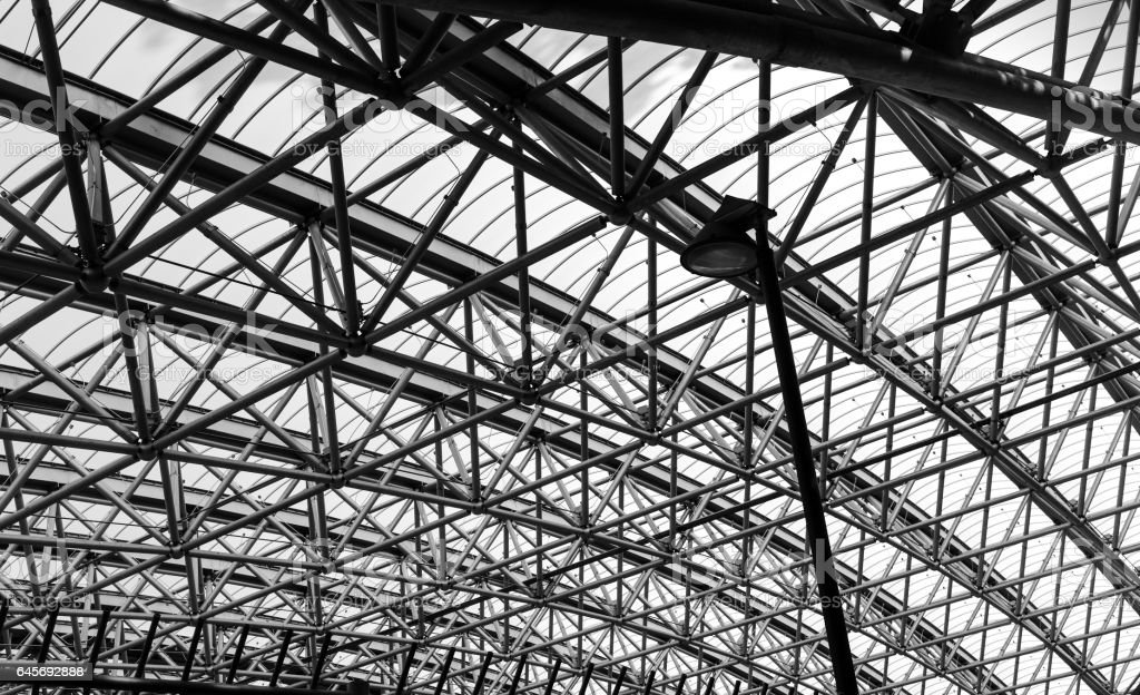 Abstract architecture part of steel structure roof. stock photo