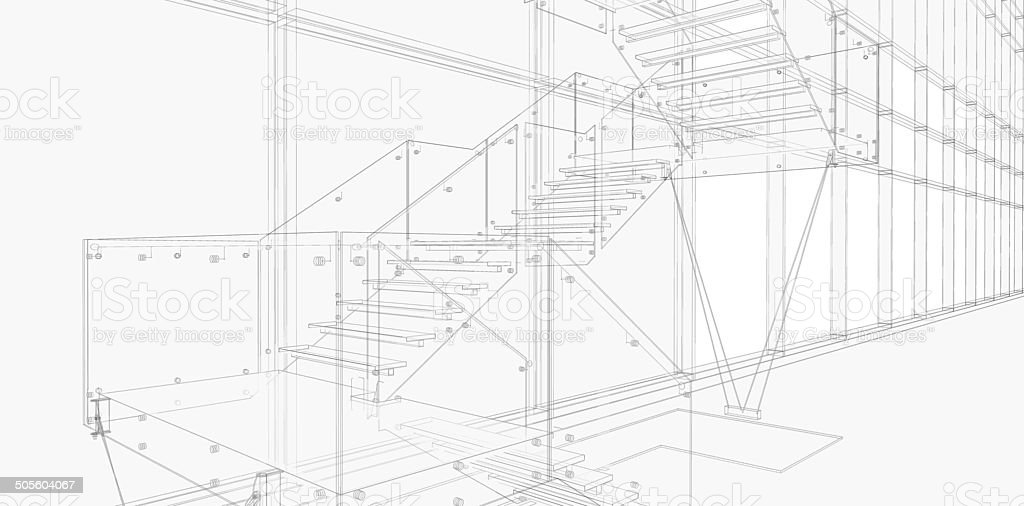 Abstract architecture (construction, stairs) royalty-free stock photo