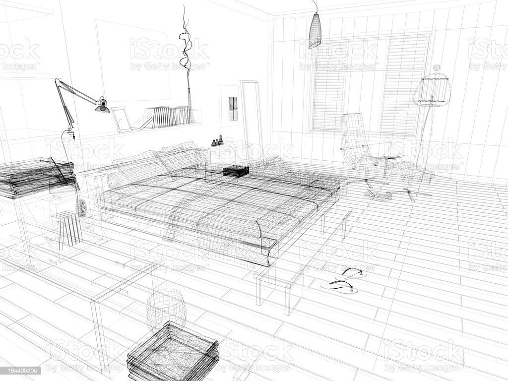 abstract architecture Wire Frame Blueprint  Bedroom 1 stock photo