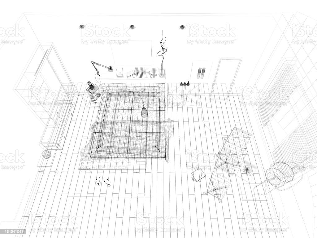 abstract architecture Wire Frame Blueprint  Bedroom 2 royalty-free stock photo
