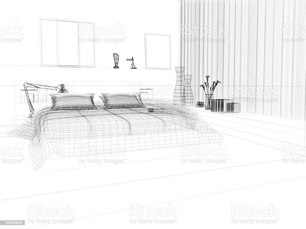 abstract architecture Wire Frame Blueprint  Bedroom 4 stock photo