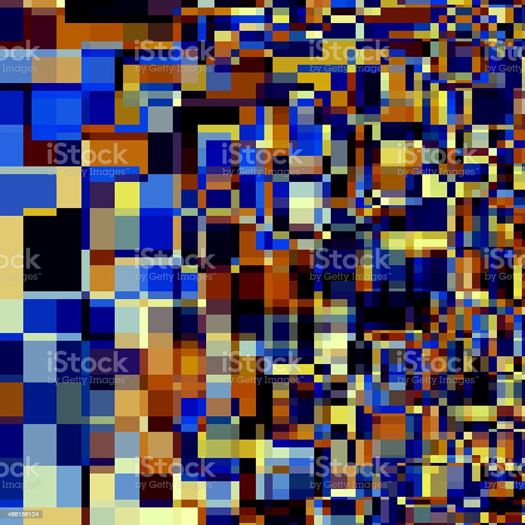 Abstract Artsy Overlapping Squares. Blue Orange Black White Colored Background. stock photo