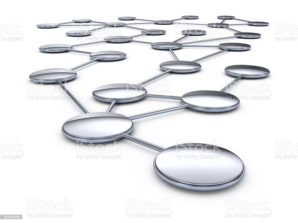 Abstract artwork mapping connective network of circles stock photo