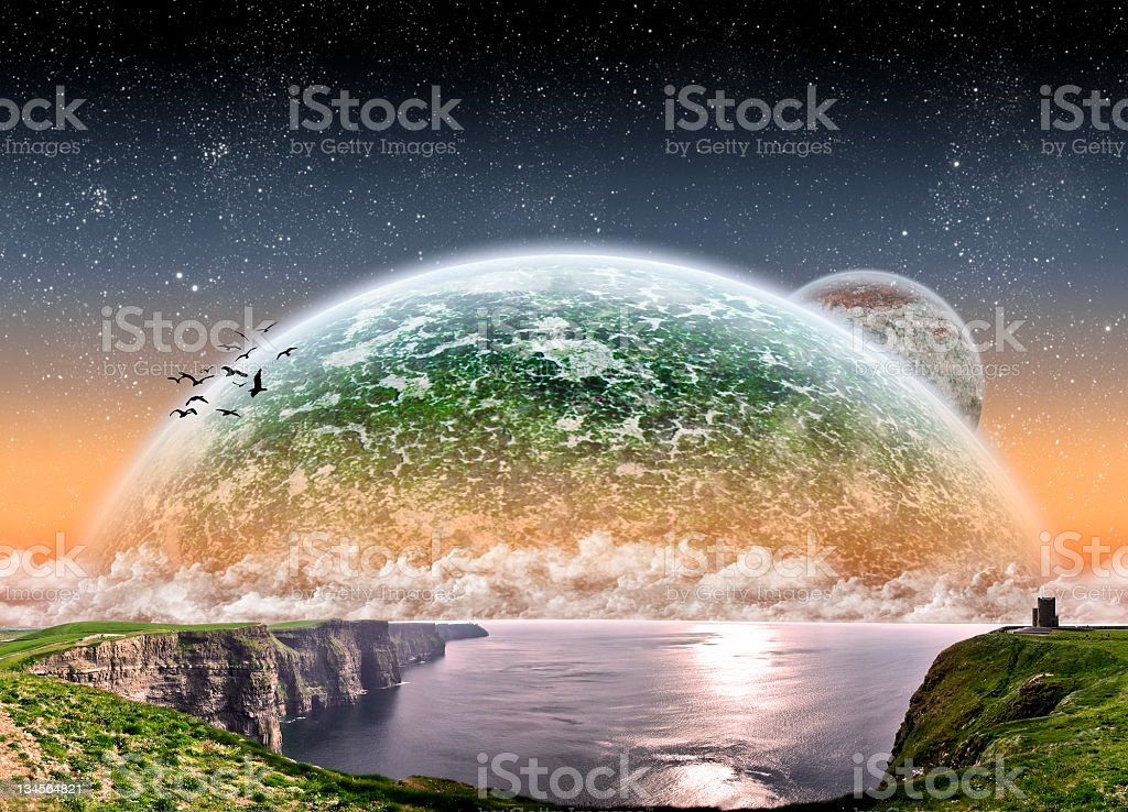 Abstract artwork of a planet landscape royalty-free stock photo