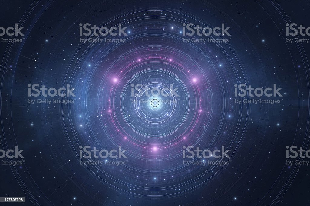 Abstract astrology time wheel set deep in space stock photo