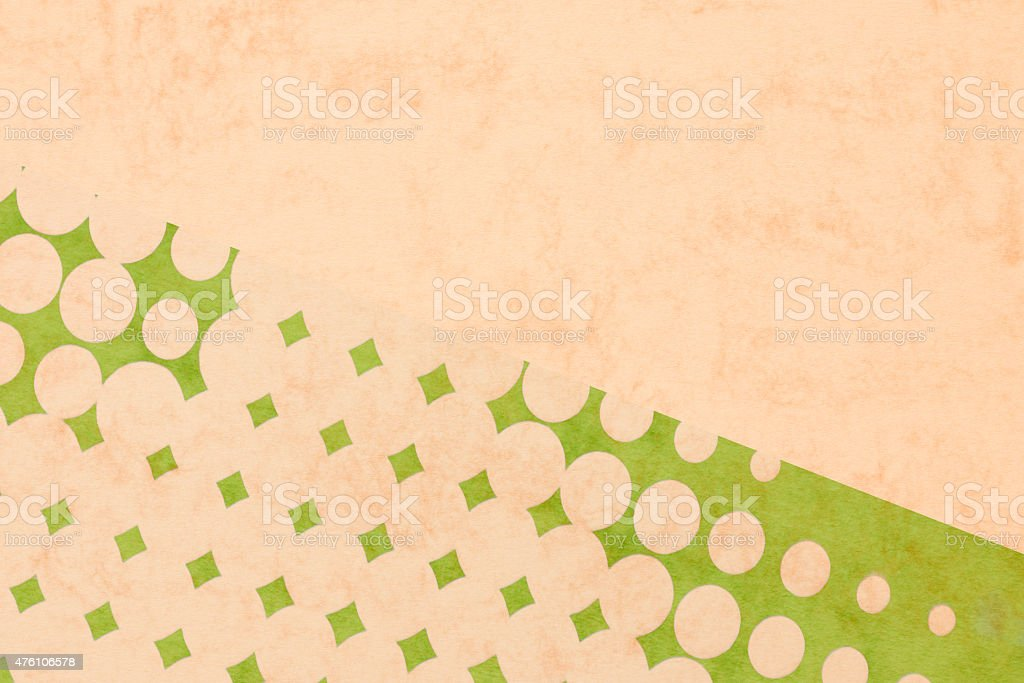 abstract background - beige pop dots on textured colored paper stock photo