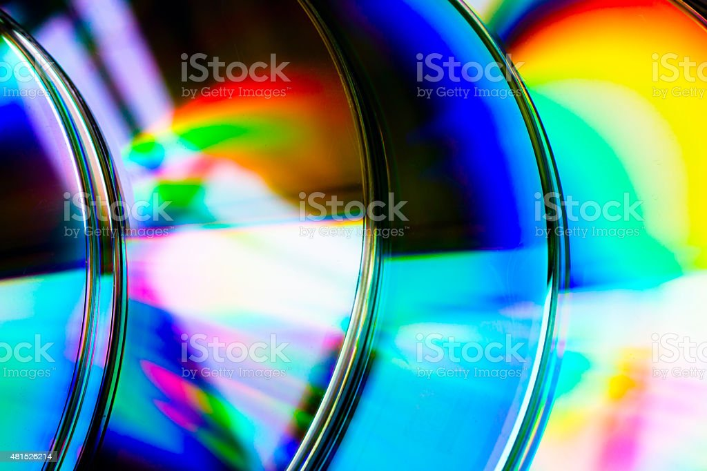 abstract background cd disk with defocused refraction of light stock photo