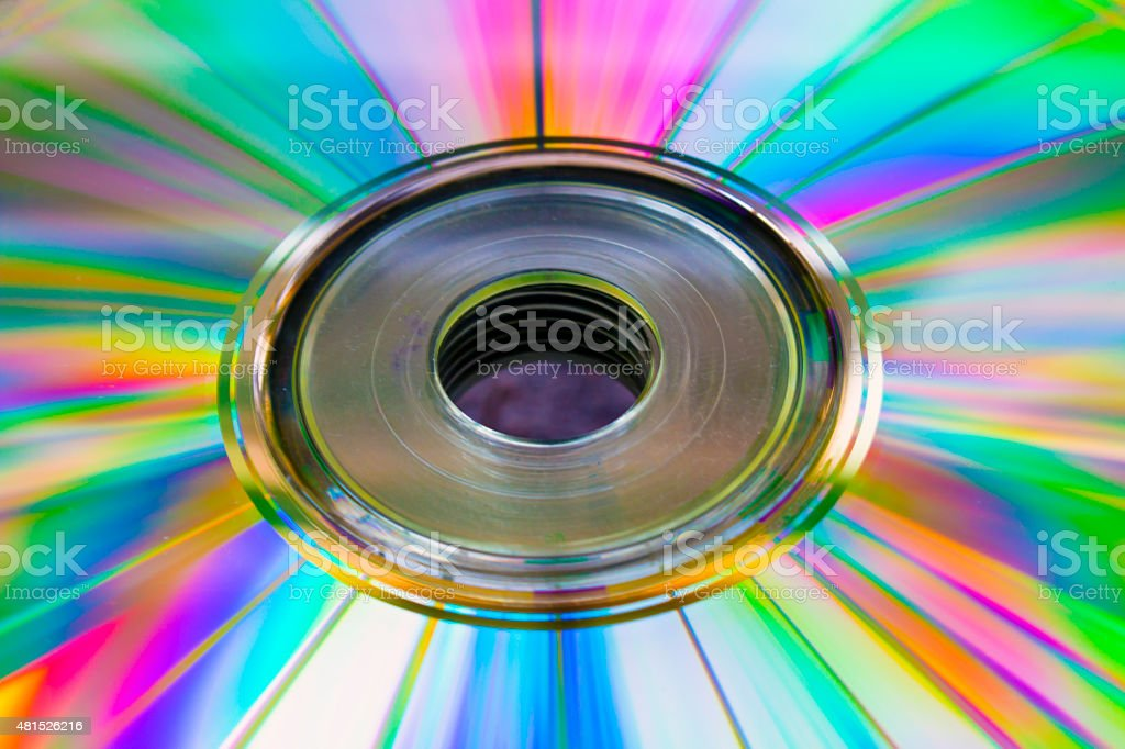 abstract background cd disk with the defocused image of blue stock photo