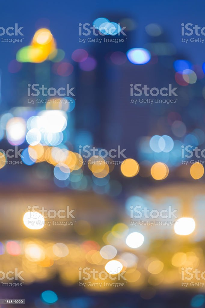 Abstract background, city lights blur bokeh during twilight stock photo