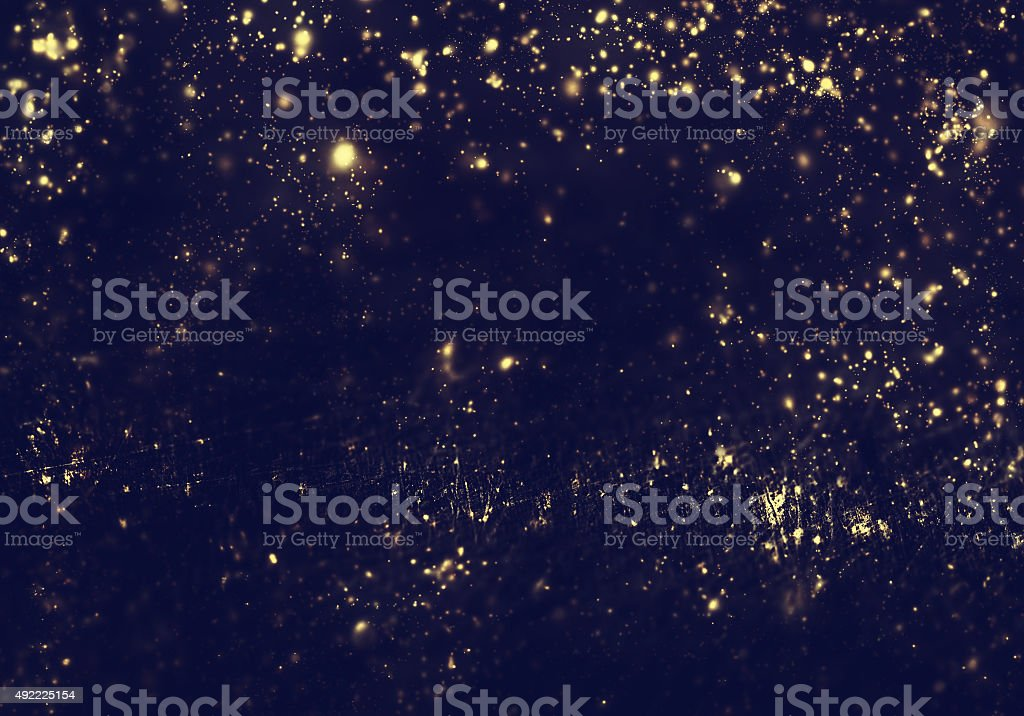 Abstract background - golden lights, flash , night city, lens stock photo