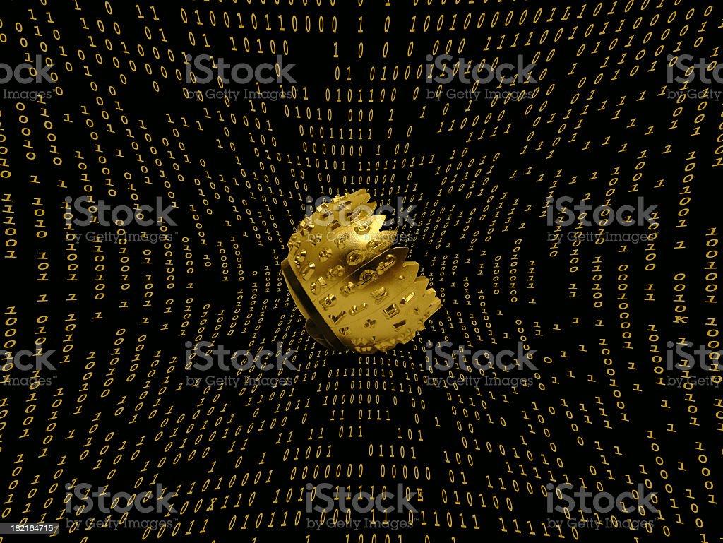 abstract background - heart of matrix stock photo