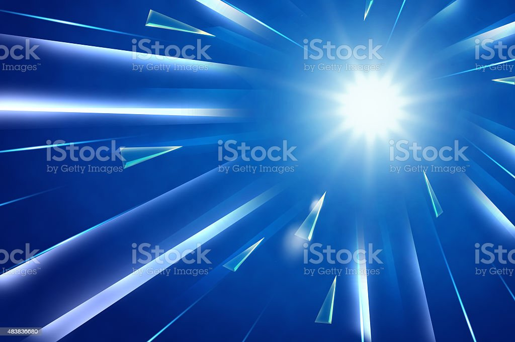 Abstract background : Light explosion with rectangle and triangl vector art illustration