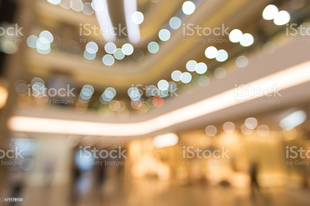 Abstract background of bokeh light at Shopping mall stock photo