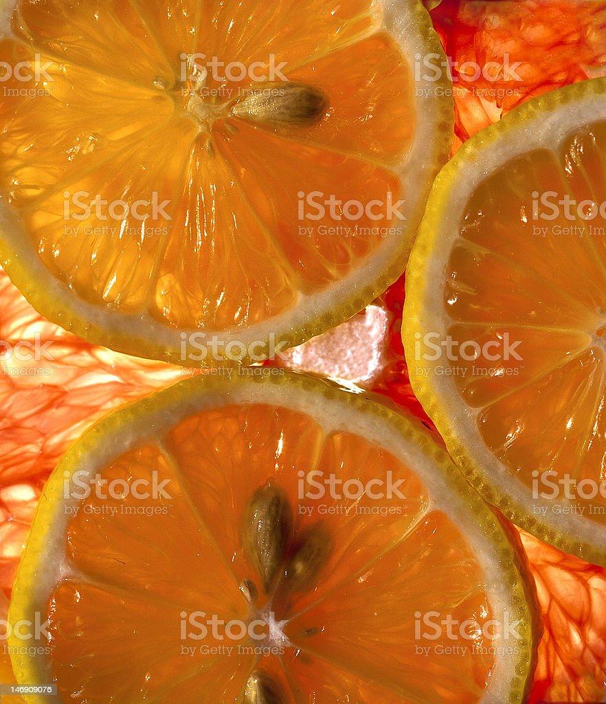 Abstrakt Hintergrund Zitronen- und grapefruit Lizenzfreies stock-foto