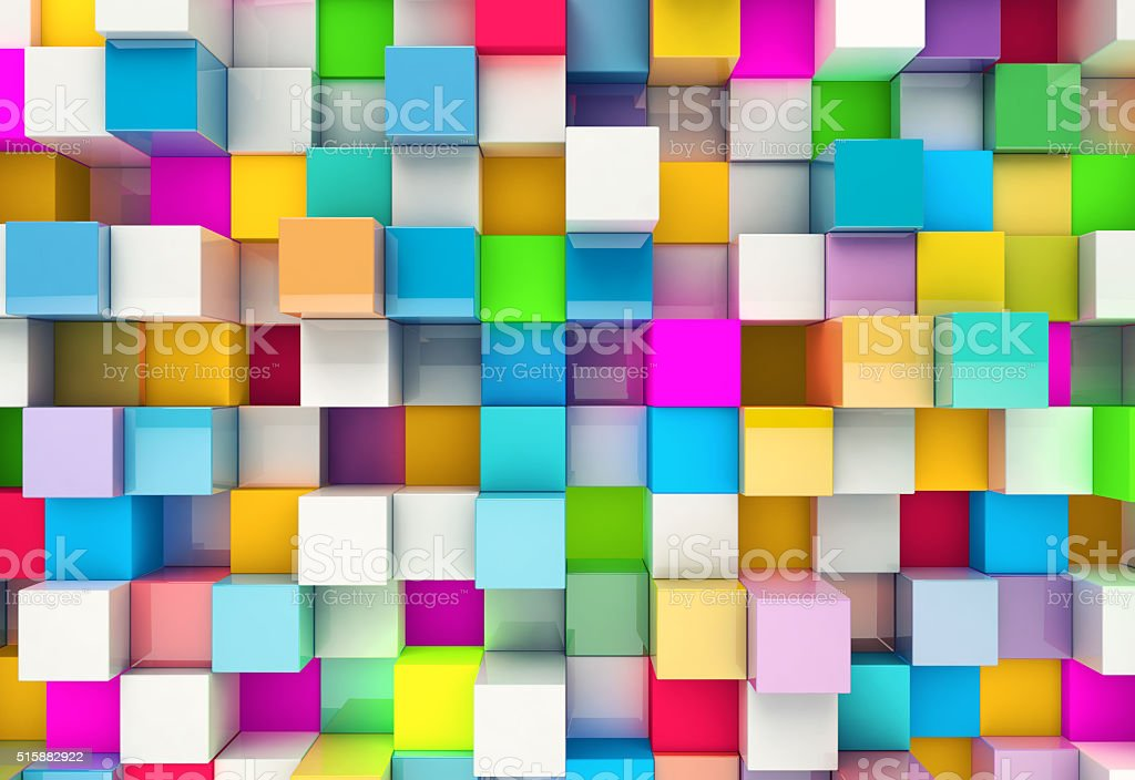 Abstract background of multi-colored cubes stock photo
