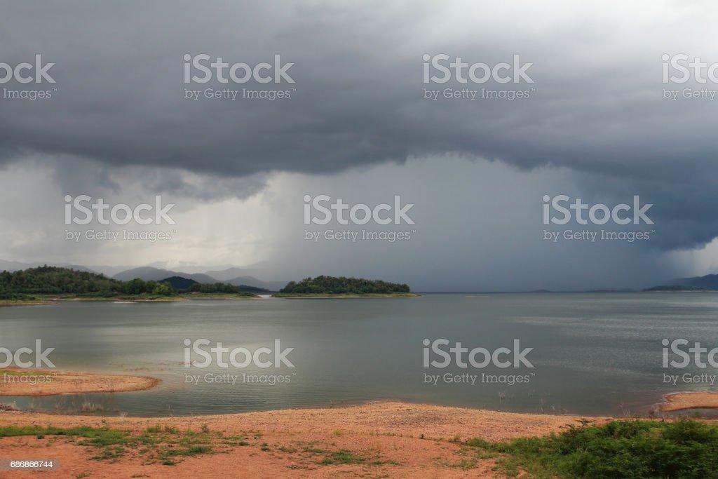 Abstract background of nature and arcus cloud (shelf cloud) during time the rains at lake and mountain of Kaeng Krachan Dam, Kaengkrachan National Park ,Petcahburi in Thailand stock photo