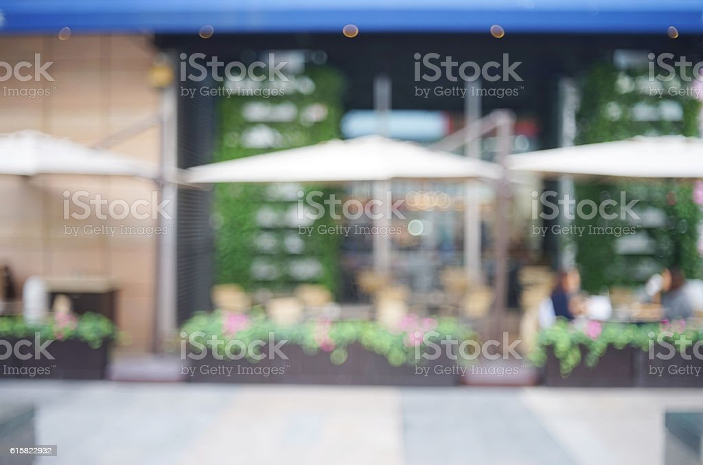 abstract background of outdoor seatings , coffee shop stock photo