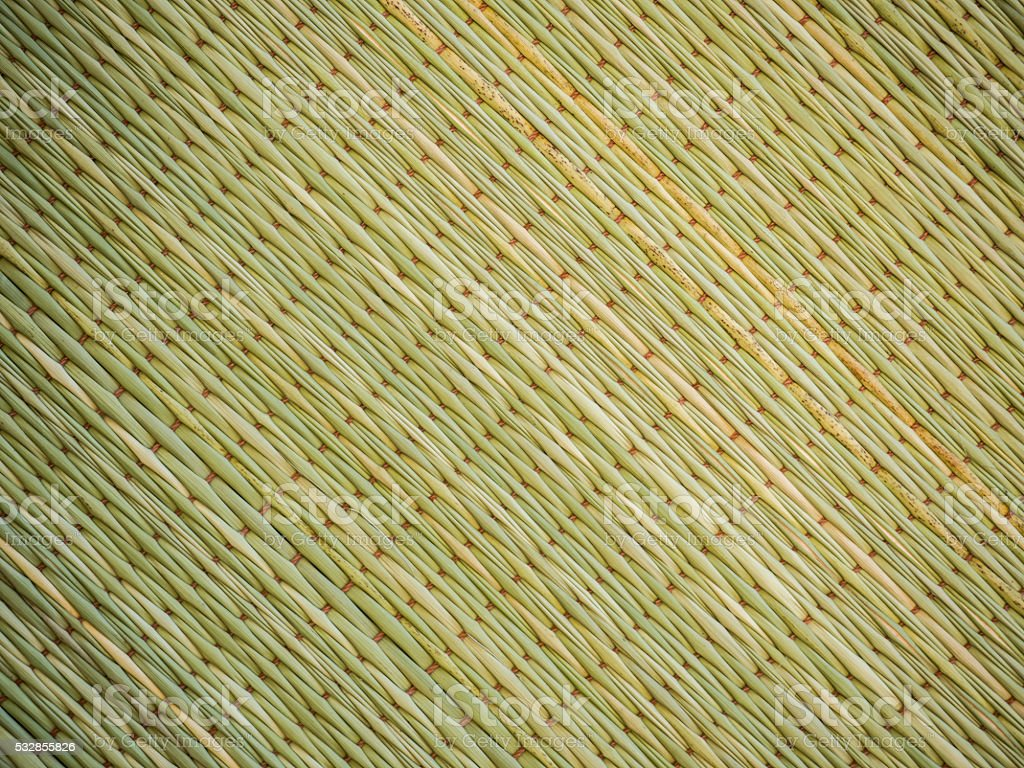 Abstract background of reed mat pattern Thai traditional handicraft. stock photo