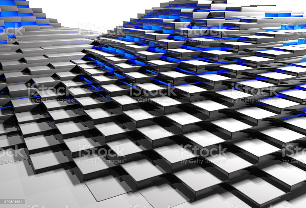 Abstract background of surface made of blocks glowing with blue stock photo