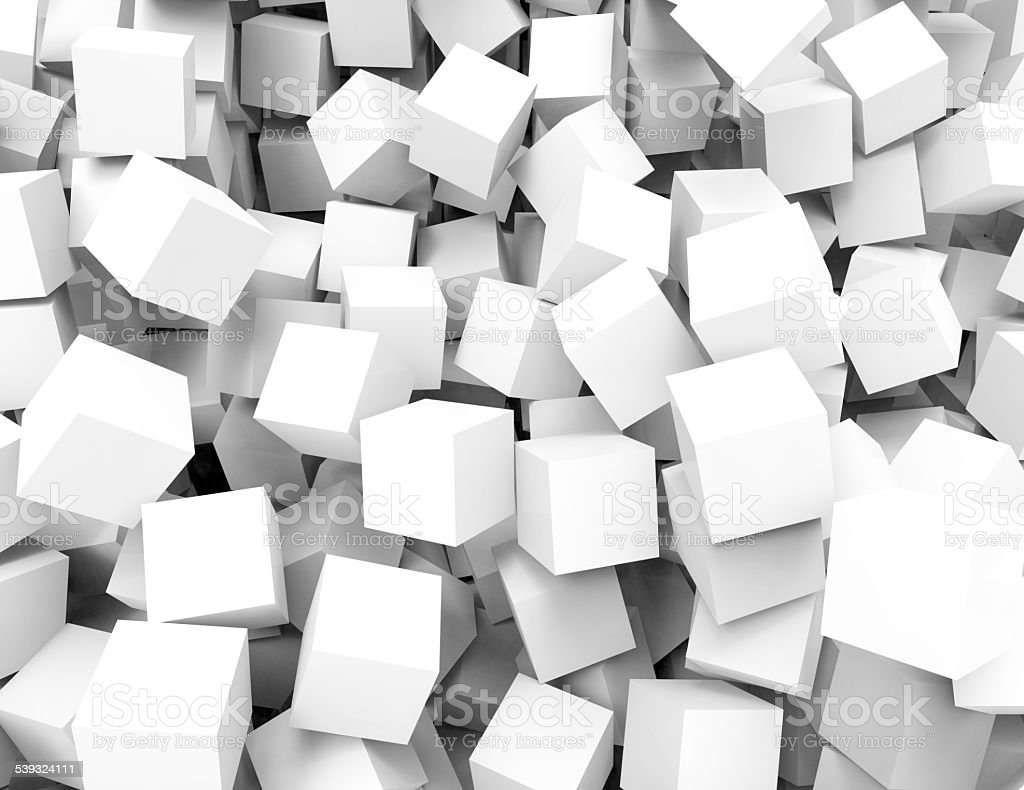 Abstract background of white 3d blocks stock photo