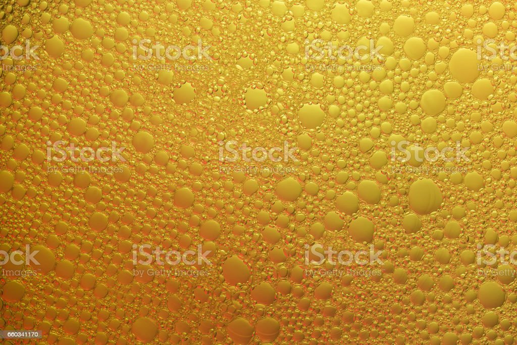 Abstract background of yellow bubbles stock photo