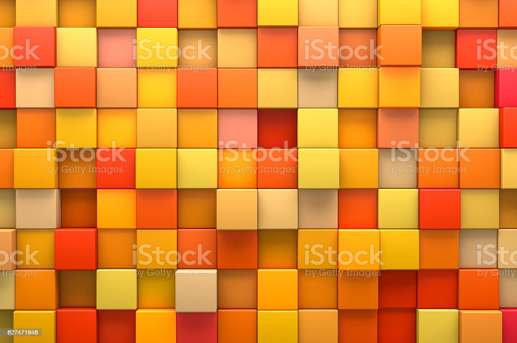 Abstract background of yellow color cubes stock photo