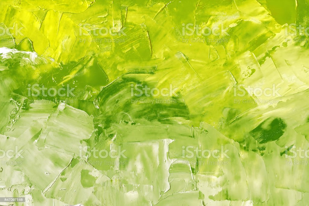 Abstract background texture in green tones, brush strokes with oil paints on canvas stock photo