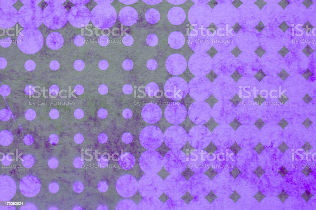 abstract background - violet pop dots on textured colored paper stock photo