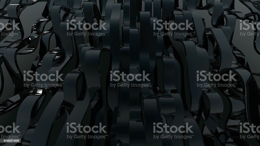 Abstract background with black wave lines. 3d rendering stock photo