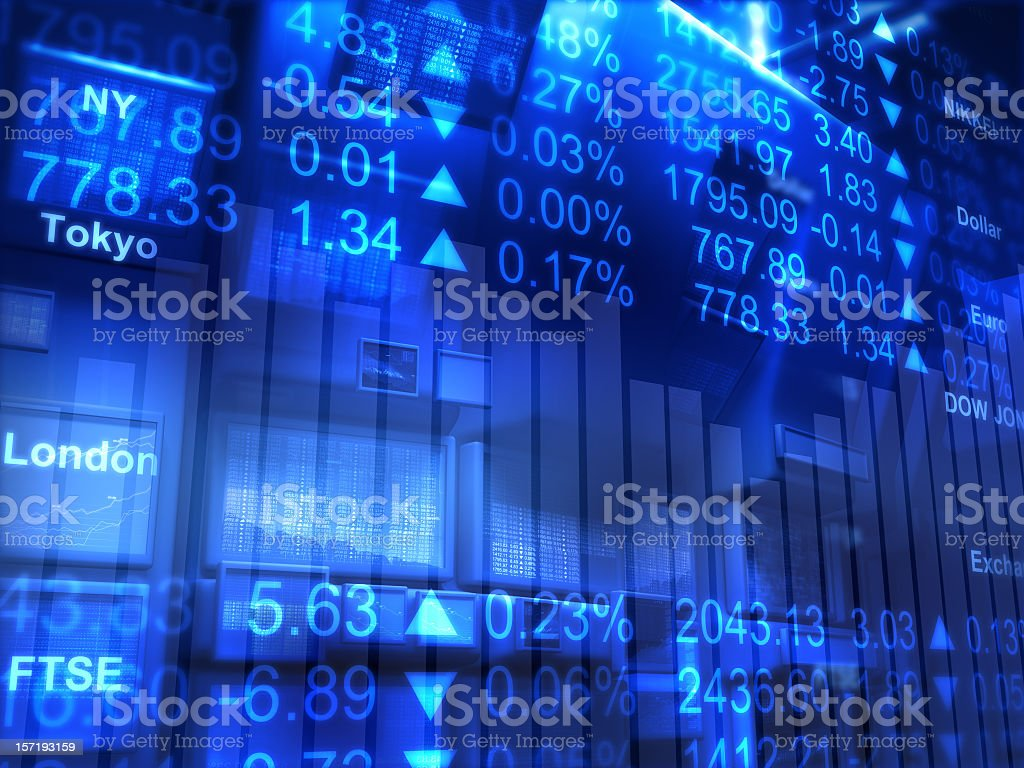 Abstract background with blue global exchange screens royalty-free stock photo