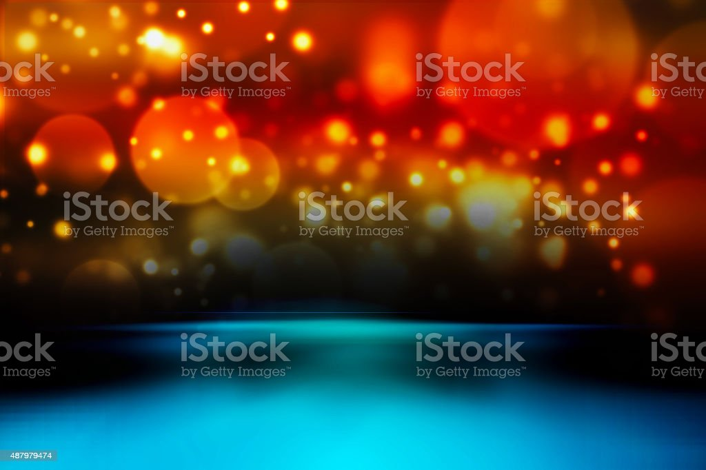 Abstract background with bokeh lights and stars stock photo