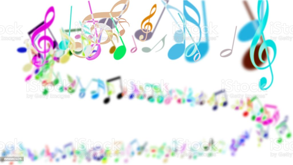 Abstract Background with Colorful Music notes. stock photo