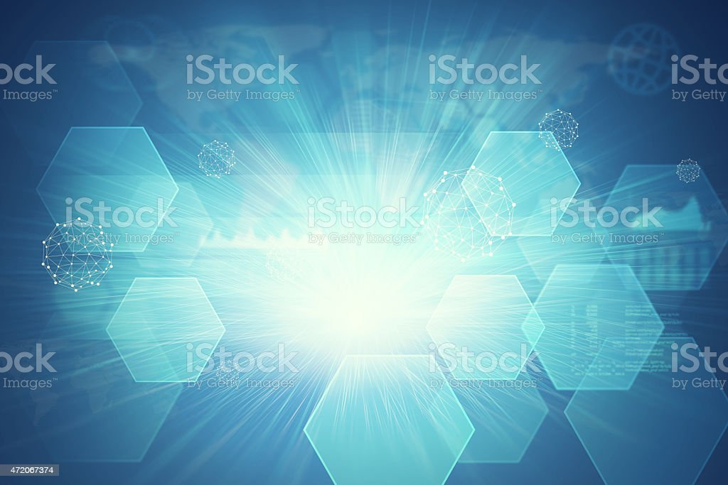 Abstract background with geometric shapes, world map and graphic stock photo