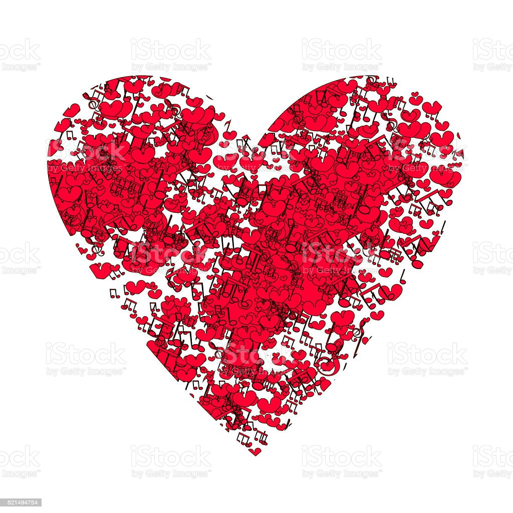 Abstract background with notes and hearts. stock photo