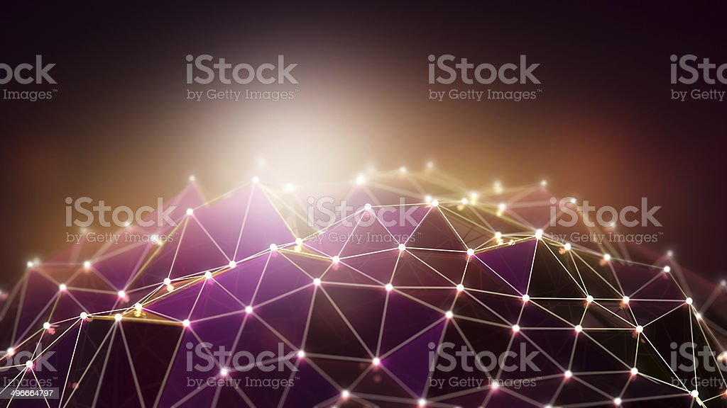 Abstract background with purple and brown polygons stock photo