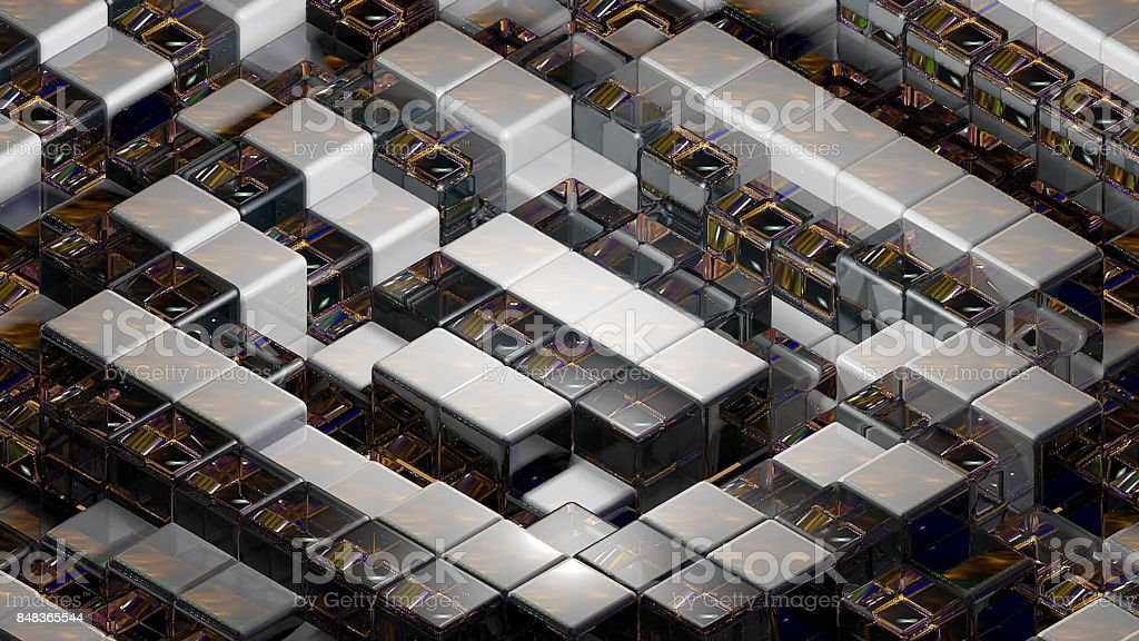 Abstract background with realistic cubes stock photo