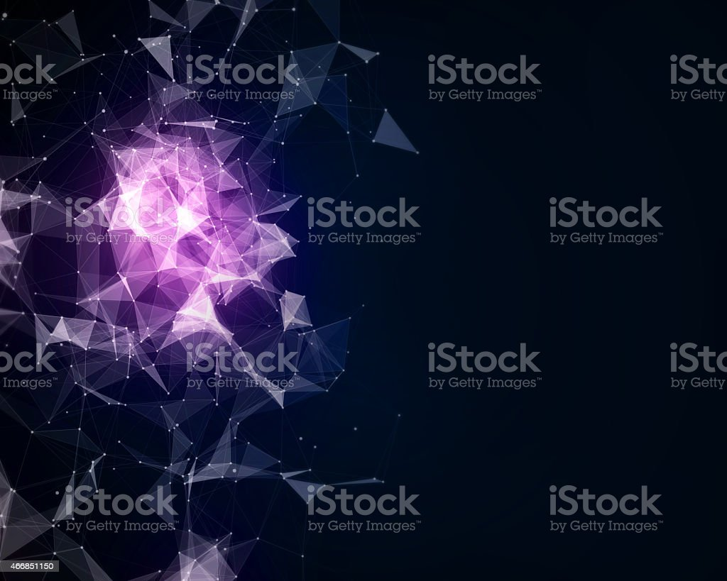 Abstract background with triangle particles stock photo
