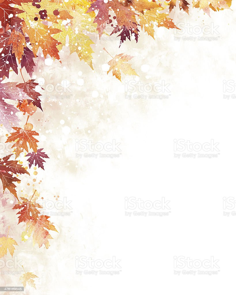 Abstract background with watercolor maple leaves stock photo