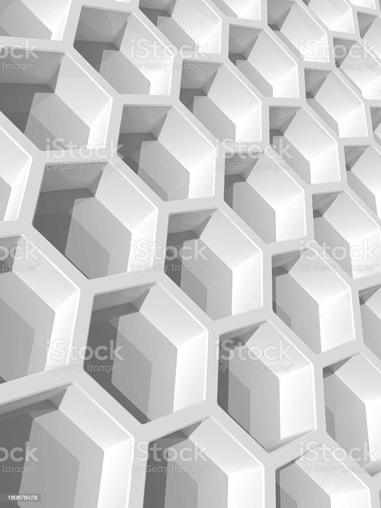 Abstract background with white honeycomb structure. 3d render illustration royalty-free stock photo