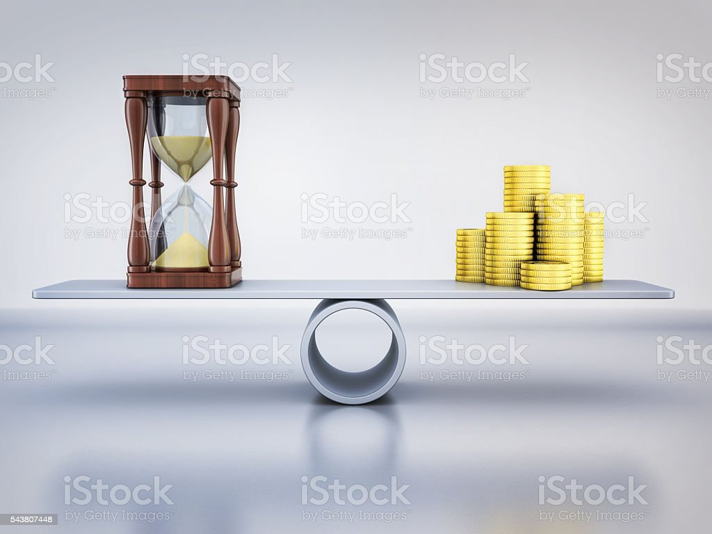 Abstract balance time and money stock photo