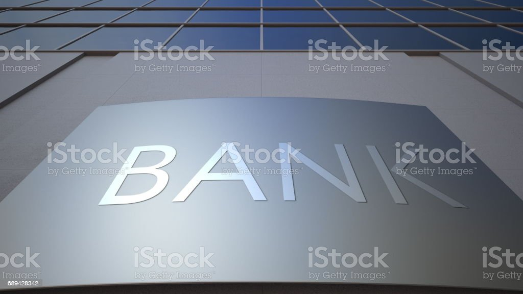 Abstract bank signage board. Modern office building. 3D rendering stock photo