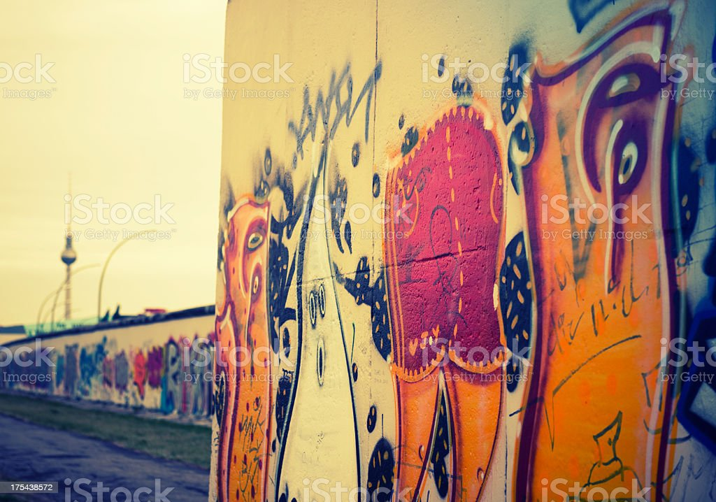 Abstract berlin wall graffiti - Germany stock photo