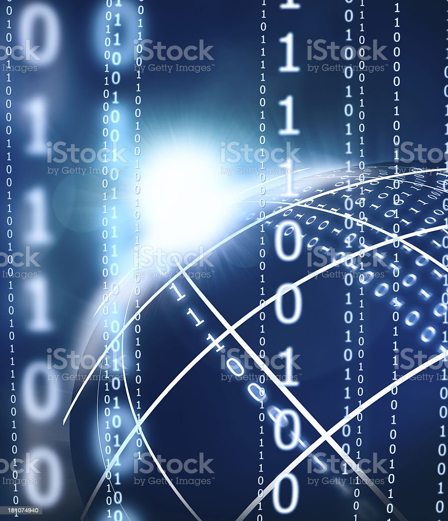 Abstract Binary Code Planet royalty-free stock photo