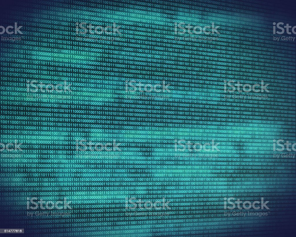 Abstract binary turquoise code on digital screen stock photo