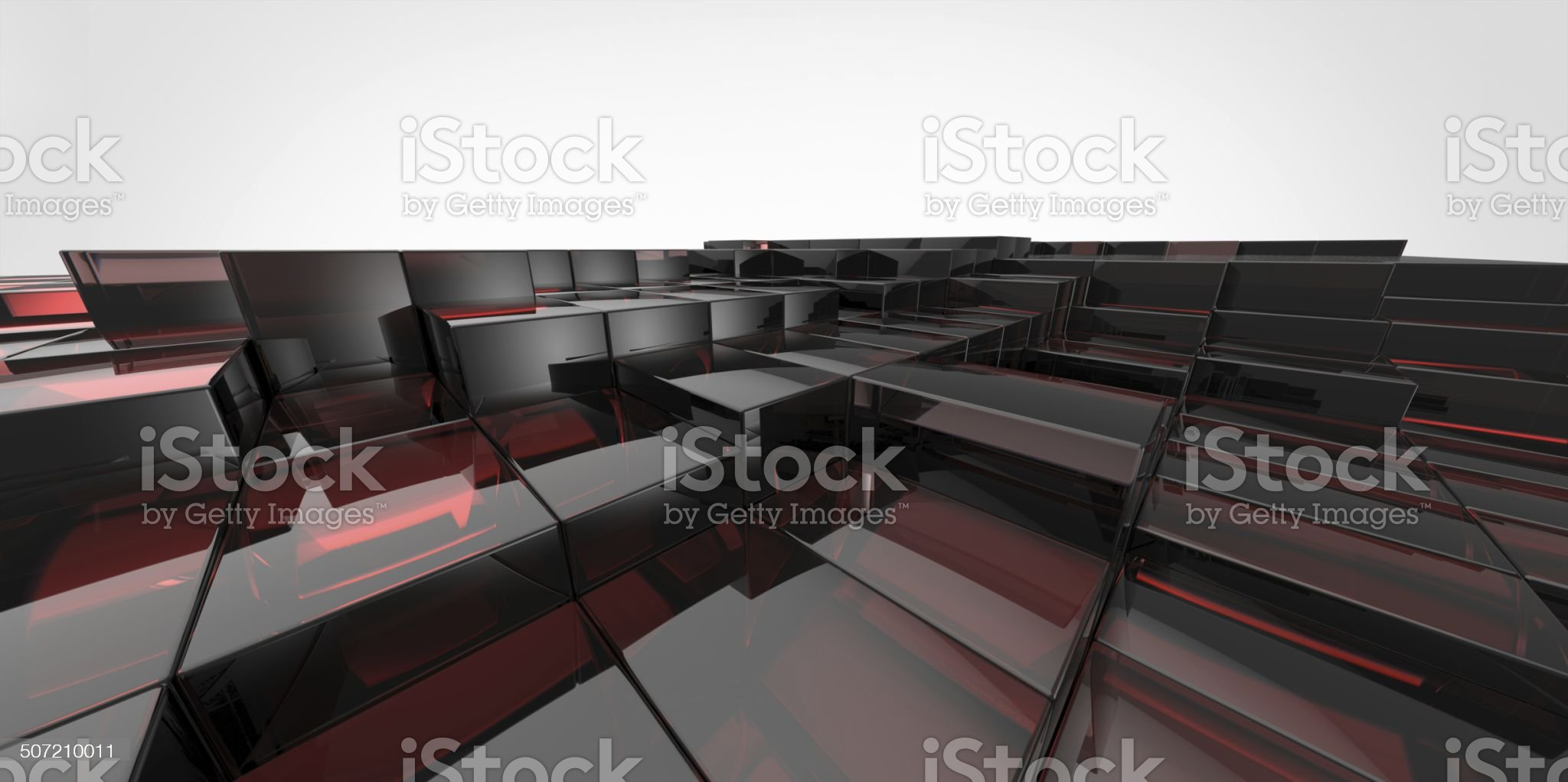 Abstract black and red  glass background of 3d blocks royalty-free stock vector art